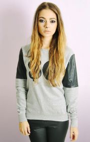 """SO"" Sweatshirt With PU Sleeves"